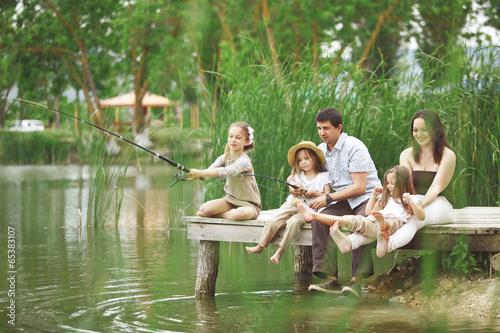 Poster Peche Family fishing