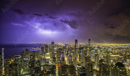 Poster Chicago Chicago downtown night panorama during thunderstorm