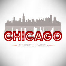 United States Of America Chicago, Vector Illustration.