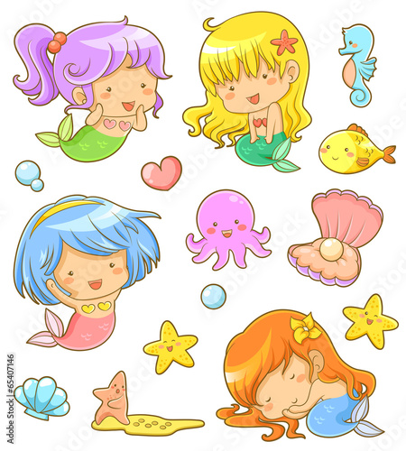 Photo  collection of adorable mermaids and related icons