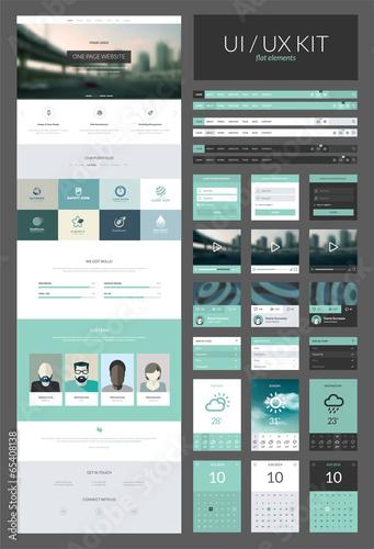 One page website design template, ux/ui kit for website design - Buy ...