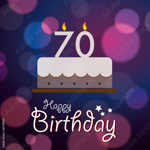 Fotografia  Happy 70th Birthday - Bokeh Vector Background with cake