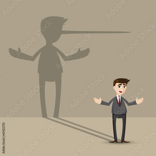Photo cartoon businessman with long nose shadow on wall