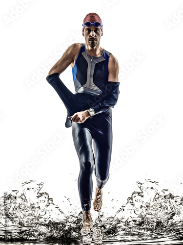 Photo  man triathlon iron man athlete swimmers running