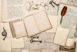 canvas print picture - antique accessories and office tolls, old letters and postcards