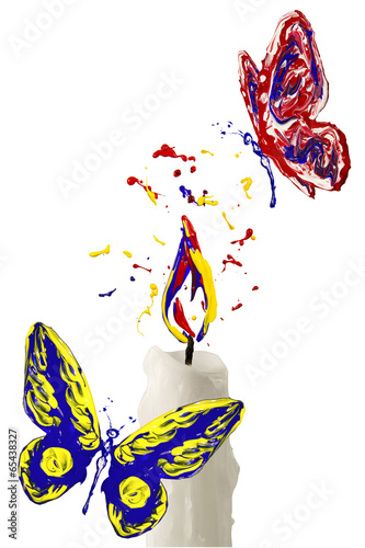 In de dag Art Studio Paint flame on the candle and red yellow blue butterfly flying a