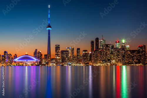 Canvas Print Toronto skyline at dusk