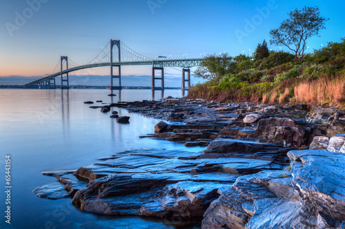 Newport Bridge Sunrise Rocky Seascape Canvas Print