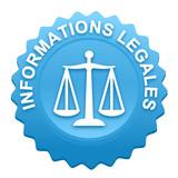 informations légales sur bouton web denté bleu