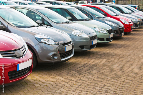 Row of different used cars Canvas Print
