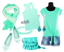 Collage Of Clothes In Turquois...