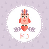 cute hipster owlet purple - 65454524