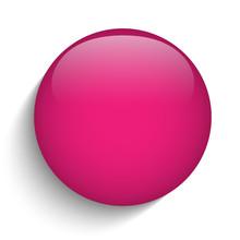 Pink Glass Circle Button Icon