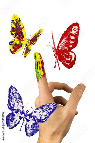 Tuinposter Vormen The flock of painted butterflies flying around finger