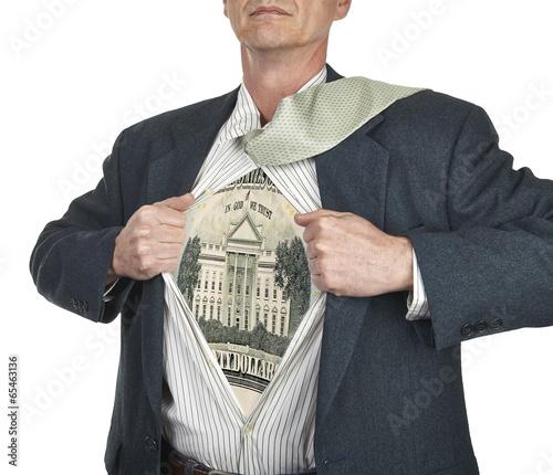Businessman showing twenty dollar bill superhero suit underneath Canvas Print