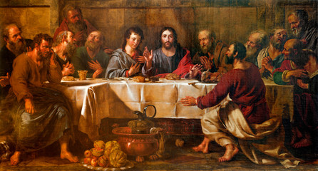 FototapetaBRUSSELS - JUNE 21: Paint of Last supper of Christ in st. Nicho