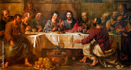 BRUSSELS - JUNE 21:  Paint of Last supper of Christ in st. Nicho - 65464553