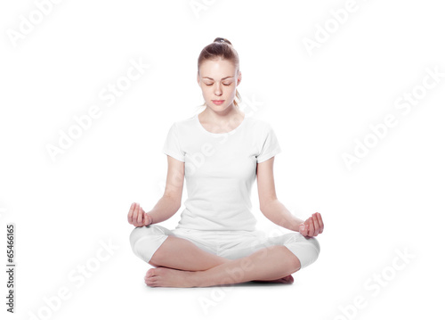meditating woman on a white background