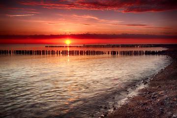 FototapetaSonnenuntergang an der Ostsee