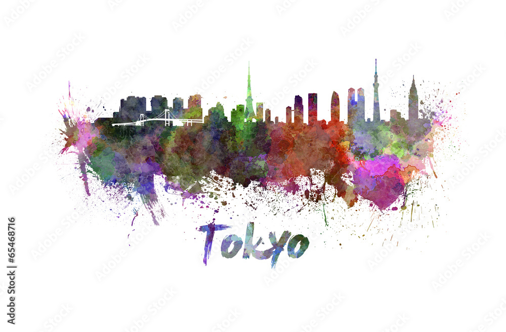 Photo & Art Print Tokyo skyline in watercolor | EuroPosters