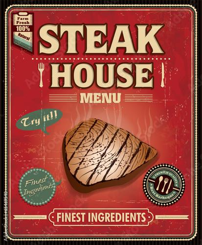 Vintage fish steak house poster design