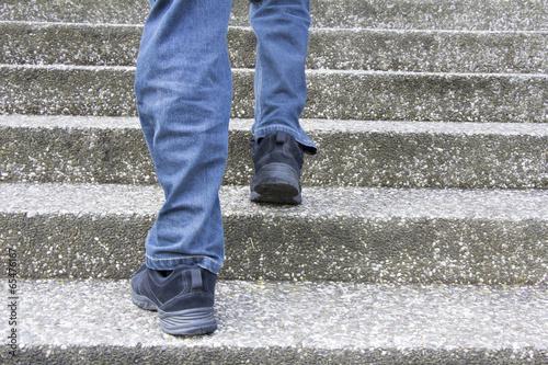 Foto op Plexiglas Trappen Climbing up stairs