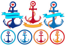 Anchors With Ribbons And Frame...