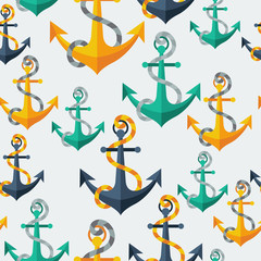 Panel Szklany Marynistyczny Nautical seamless pattern with anchors and rope.