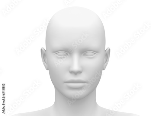 Obraz na plátne Blank White Female Head - Front view