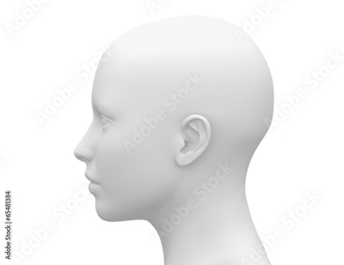 Fotografie, Obraz  Blank White Female Head - Side view