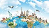 Fototapeta Fototapety dla młodzieży do pokoju - Travel the world monument concept