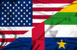 Waving flag of Central African Republic and USA