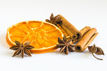 Dried Orange Ring With A Few Anise Stars And Cinnamon