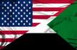 Waving flag of Sudan and USA