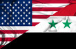 Waving flag of Syria and USA