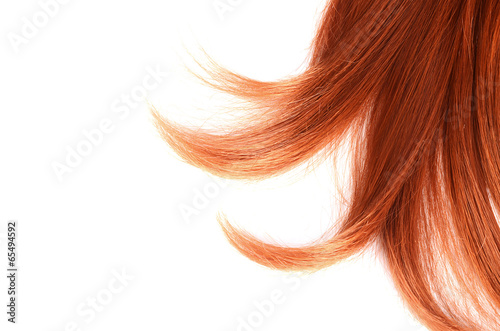 Photo Beautiful red hair isolated on white background