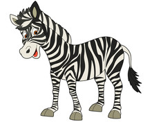 Cartoon Animal - Zebra - Flat Coloring Style