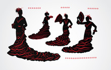 Woman Dancing Flamenco. Set Of Black And Red Silhouettes