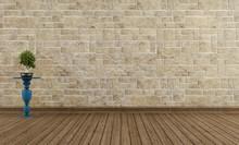 Empty Vintage Room Stone Wall
