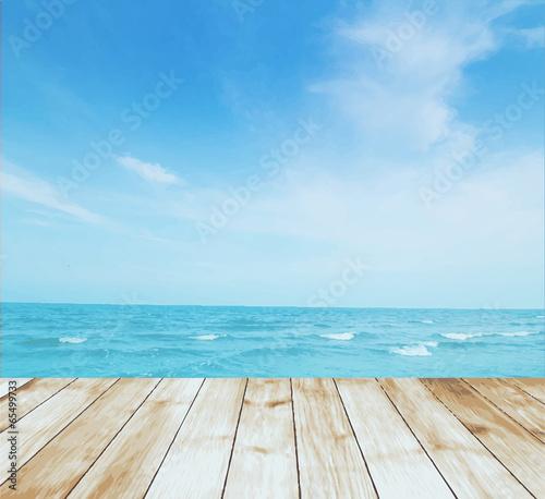Stampa su Tela Vector platform beside sea