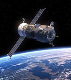 "Cargo Spacecraft ""Progress"" Orbiting Earth"