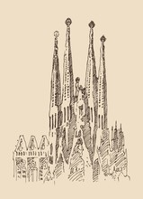 Cathedral, Architecture In Barcelona, Engraved Illustration