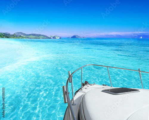 View of tropical sea from yacht