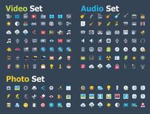 Photo, Video And Audio Icon Set