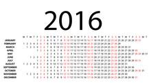 Horizontal Calendar For 2016 O...