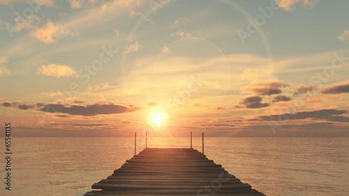 coucher du soleil sur le ponton Canvas Print