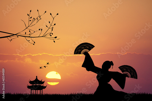 Fotografie, Tablou Japanese dance at sunset