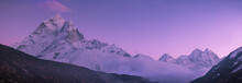 Ama Dablam Peak And Purple Sun...