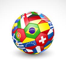 Football Soccer Ball With World Teams Flags. Vector