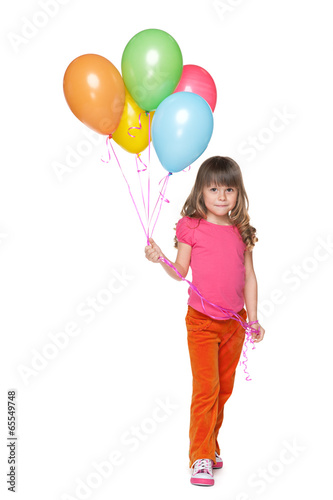 Happy little girl with balloons Poster